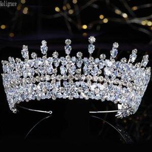 Европейский Кристал королева Диадемы и ювелирные изделия Венцы Стразы Pageant Quinceanera выпускного вечера Princess Bridal Свадебные головной убор волос