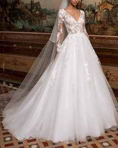 A-Line Wedding Dresses V Neck Sweep   Brush Train Lace Tulle Long Sleeve Plus Size Illusion Sleeve with
