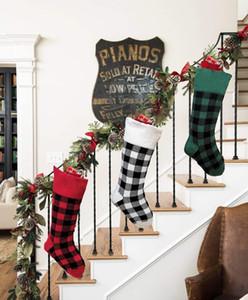 3 colors Knit Christmas Stockings Buffalo Check Christmas Stocking Plaid Xmas Socks Candy Gift Bag Indoor Christmas Decorations DHE919