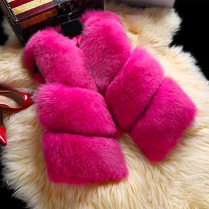 S-3XL New Autumn Winter Thick Warm Faux Fox Fur Vest Women High Quality Fashion V-Neck Short Fur Coat Female Fur Waistcoat 200921