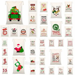 38 Style Christmas gift drawstring bag cotton cloth Bundle pocket printed Canvas Xmas Drawstring bag Children's Xmas gift bag T9I00575
