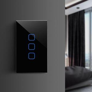 AIMENGTE EU US Standard Standard Touch Switch Panneau en verre 1/2/3 Gang Écran écran tactile à écran mural 110V 220V