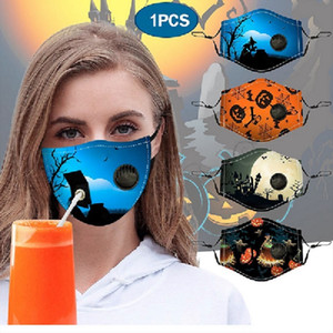 Yeni stil maskesi Cadılar Bayramı dijital toz geçirmez saman deliğiyle pamuk maske baskılı ve ayarlanabilir yıkanabilir bez maske pus