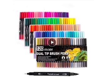 2020 Watercolor Brush Markers Dual Tip Drawing for Manga 12 24 36 48 60 72 100 120 Colors Watercolor Brush Pen