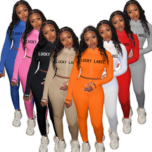 Frauen Anzug 2-teiliges Set Langarm hohe Ansatz gestickte Letter Print Reißverschluss Cardigan Bleistift Hose Outfits plus Größen-beiläufigen Sport Anzug