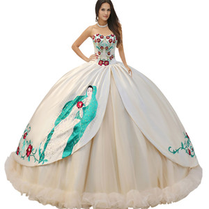 Sweetheat Beaded Basque Bodice Split Satin Overlay With Embroidered Virgen De Guadalupe Ruched Hemline Religious Quinceanera Dress Vestidos