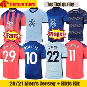 (20) (21) 첼시 축구 유니폼 베르너 ZIYECH 2020 2021 아브라함 PULISIC 축구 셔츠 램파드 KANTE MOUNT 팬 Player 버전 남성 저지 키즈 키트