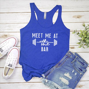 Vest Meet Me At The Bar Tank Tops Womens Racerback Motivational Gym Lifting Tanks Fashion Graphic Funny Exercise Workout Shirt