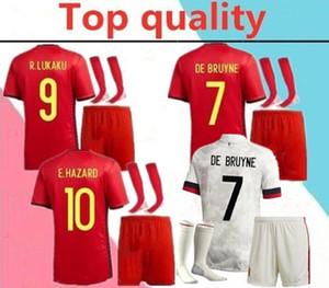 2020 2021 European Cup Belgium adult Soccer Jersey full kits 2020 2021 HAZARD LUKAKU KOMPANY MERTENS DE BRUYNE Football shirt kit+socks