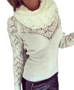 Femminile vestiti di inverno delle donne eleganti maglioni sciarpa colletto a maniche lunghe Pullover Sexy Ladies maglioni colore solido di modo