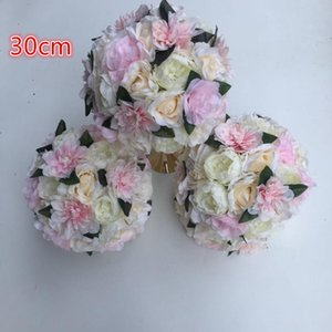 12pcs lot Artificial wedding road lead flower ball Wedding table flowers Foam Center flower decoration ball Hot 30cm