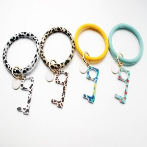 Large Circle Bracelet Keyring Touchless Elevator Leopard Bracelet Keychains with Metal Ring Leather Door Opener Keychain