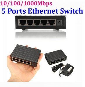 10 100 1000Mbps 5 Ports Ethernet Switch Network Hub Plastic Mini Desktop High Performance Smart Adapter * 120set lot
