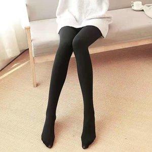 Automne et hiver Pantyhose épaissi femme peau noire leggings collants en laine polaire leggings couleur neuf points Sw6O5