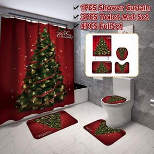 Tapetes 4pcs / set Backgdrop Natal Impressão Neve Waterproof Banheiro Shower Curtain Bath Cortina Toilet Tampa Mat Set antiderrapantes