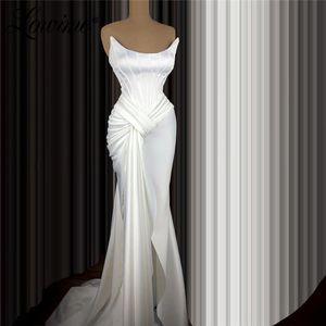 Платья для вечеринок Простой Белый Вечернее Вечернее Вечернее Вечерняя Русалка Длинная Женщина Ночь Атлон Формальные платья 2021 Плисситы Платье Пром Плюс Размер