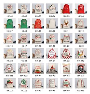 2021 50 Pcs DHL Christmas Gift Bags Large Organic Heavy Canvas Bag Santa Sack Drawstring Bag With Reindeers Santa Claus Sack Bags for kids