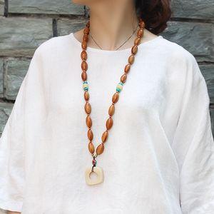 2020 Népal Collier fait à la main en bois bouddhiste perles collier pendentif bijoux ethnique Statement longue Femmes Hommes