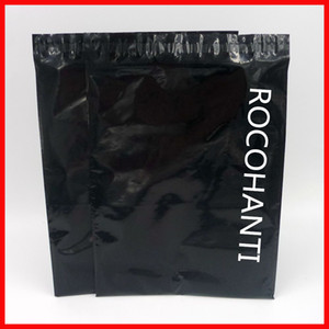 100x Custom Printed Glossy Black Color Plastic Envelopes Mailing Bags Self Adhesive Courier Bag for Postage Shop Online 200919