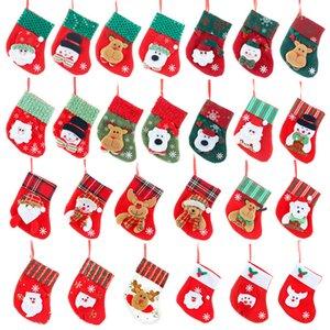 Christmas Small Gift Stockings Santa Snowman Moose Design Candy Gift Decorative Socks Xmas 16*13cm Kitchen Cutlery Bag GWF1928