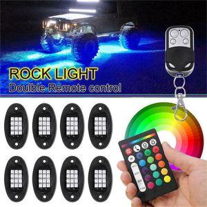 8PCS RGB LED ضوء روك Underglow نيون LED الخفيفة كيت على الطرق الوعرة شاحنة أضواء السيارات الديكور