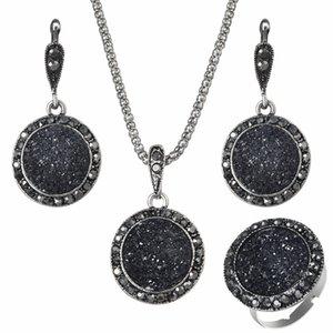 Wholesale Vintage Black Gem Jewelry Set Fashion Women Jewelry Set Antique Silver Crystal Round Stone Pendant Necklace Earrings Sets 3Pc
