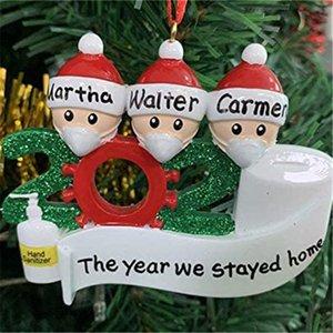 Christmas Quarantine Birthday Party Ornaments Christmas Tree Pendants DIY Name Family Prayer Decor Christmas Decorations 2020 DLH469