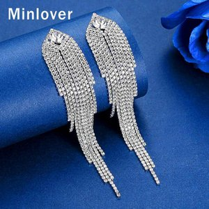 Minlover Silver Color Metal Long Tassel Drop Earrings for Women Korean Rhinestone Wedding Bride Fringe Earrings Jewelry MEH1647