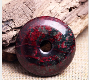 Large peach blossom jade Xiu jade bloodstone safe buckle ring pendant car hanging jade Xiu handle
