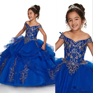 Cheap Royal Blue Peach Girls Pageant Dresses Off Shoulder Gold Lace Embroidery Beaded Flower Girl Dresses Kids Wear Birthday Communion Dress
