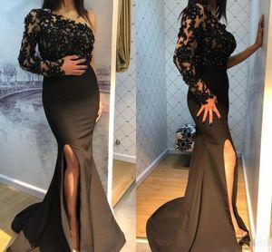 Black Mermaid Evening Dresses with Applique Beaded One Long Sleeve Prom Dress Side Split Vestidos De Novia