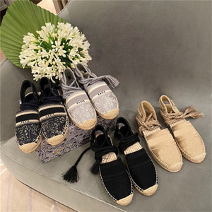 Christian Dior B25 Designers Espadrille Wedge Sandals Oblique embroidred cotton Women High heel Platform shoes Summer Luxury runway Lace-up Sandals HFS