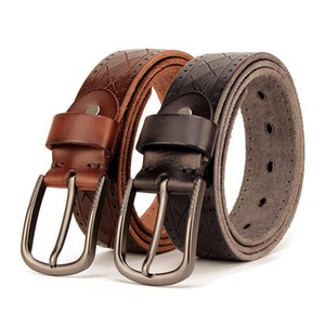2019 New Mens Header Level Vintage Antique Finish Via Rinsing Leather Belt Knife Tattoo Manual Personality Casual Jeans Waistband