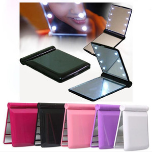 Led Makeup Mirror 8 lamps Women Girls Folding Cosmetic Hand Mirrors With Lights Pocket Portable Home Outsider Make Up Tools FFA4414