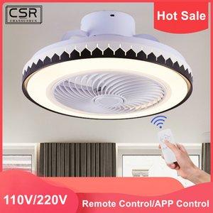 Modern Siyah Tavan Fan Beyaz Işıklar Akrilik LED Aydınlatma Dim Yatak odası Fan Lamba AC220V 110V ile Demir Tavan Hayranları Boyalı