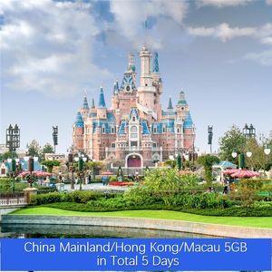 China Continental / Hong Kong / Macau 5GB no total 5 dias VPN ilimitado de Roaming Global Viagem Dados Simcard Pré-pago Internet Turismo Cartão Pric baratos