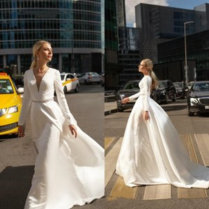 2021 Fashion Satin A-Line Wedding Dresses V Neck Long Sleeves Backless Beaded Bridal Gowns Sweep Train Garden Country Wedding Dress