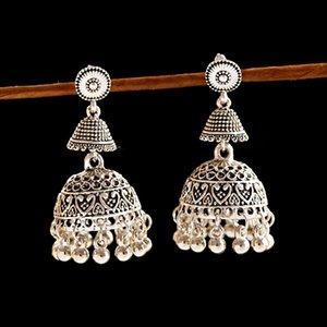 Pendientes de la jaula de pájaros Jhumka OIQUEI mujeres de la vendimia de Bohemia étnicas pequeña campana de la borla antiguo Egipto regalos de la joyería gitano tribal