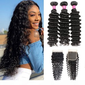 only charming queen Deep Curly Hair Bundles with 4x4 Lace Closure Malaysian Deep Wave Human Hair 3 Bundles with Lace Closure gaga all love
