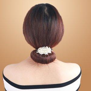 4r3Cc 세미 모양의 헤어 액세서리 끊임없이 변화하는 둥근 머리 한국 스타일의 볼 헤드 밴드 이슈 진주 게으른 진주 머리 장식 머리 장식 꽃