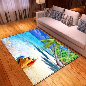 Modern 3D Sea Beach Carpet Home Decorative Area Rugs Flannel Non-slip Bedroom Dining Room Rugs Kids Play Living Room Carpet