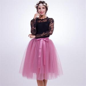 5 Layers 65Cm Fashion Tulle Skirt Pleated Tutu Skirts Womens Lolita Petticoat Bridesmaids Midi Skirt Jupe Saias Faldas