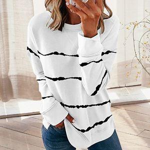 Frauen Striped Pullover Multicolor-beiläufige lange Hülsen-Sweatshirt weibliche lose Herbst Printed Weiche Hoodiepullover Tops Aufmaß