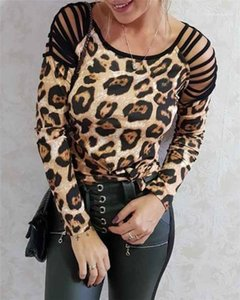 Scoop Neck Casual Shirt Leopard Shoulder Hollow Out Womens Designer Tshirts Loose Long Sleeve Fashion Blouse