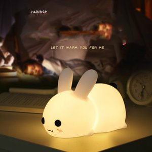 USB charging silicone creative budding rabbit led small night light bedroom bedside touch jade rabbit little night lamp