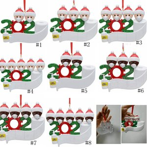 PVC 2020 muñeco de nieve adorno de navidad el árbol de navidad de cuarentena pendiente regalo de la decoración de la familia de ornamento con máscara mano Sanitized GGA3682