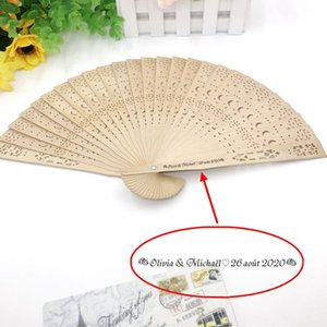 80PCS Personalized Wood Fan with Star Moon Design Custom Printing Name and Date Wedding Hand Held Fan in Organza Bag