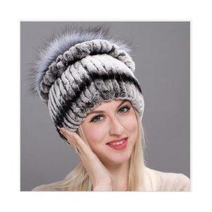 Real Rex Fur Hat Ladies Furry beanies Cap Female Extra Warm Snow Caps Luxury Cute Winter Hats For Women