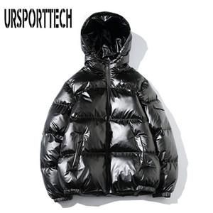 Chaqueta URSPORTTECH Marca invierno de los hombres de Down Parka de algodón acolchado Escudo Ropa brillante Bombardero Puffer capucha capa de la chaqueta de béisbol masculino c0925
