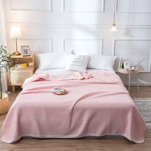 Bonenjoy 100%Cotton Knitted Blanket for Summer Pink Color High Quality Cotton Summer Thread Blankets Single Queen Towel Blanket